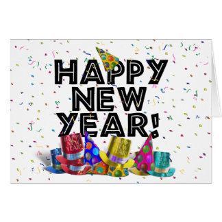 Glückliches neues Jahr - schwarzer Text mit Karte