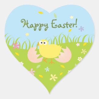 Glückliches niedliches Baby-Küken Ostern Herz-Aufkleber