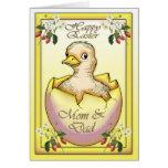 Glückliches Ostern-Küken mit Ei, für Mamma und