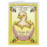 Glückliches Ostern-Küken mit Ei, für Mamma und Grußkarte