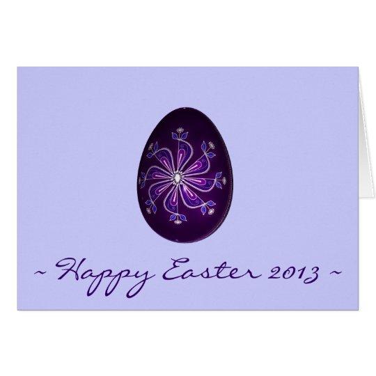 Glückliches Ostern ~ lila gemaltes russisches Ei Mitteilungskarte