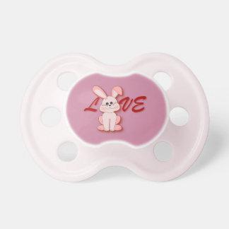 Glückliches rosa Hopfen-Kaninchen für Schnuller