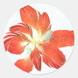 Glückliches Rot versieht Blumenaufkleber mit Runder Aufkleber