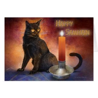 Glückliches Samhain Kätzchen und Kerze Karte