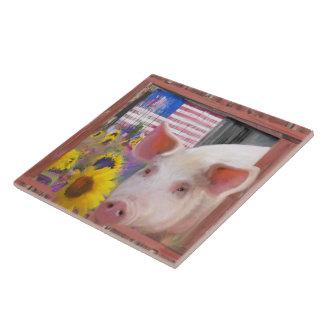 Glückliches Schwein 2 von Westmarin Keramikfliese