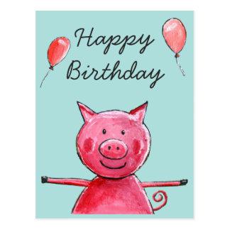 Glückliches Schwein Postkarte