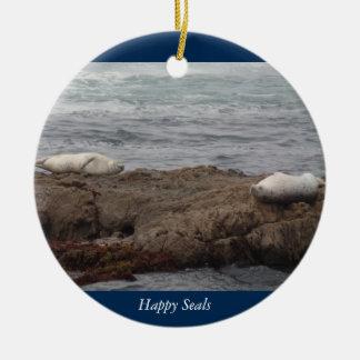 Glückliches Siegel-Glasstrand in Fort Bragg Keramik Ornament