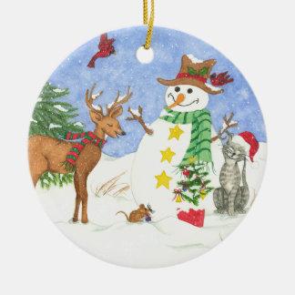 Glückliches Snowm und Freunde - Verzierung Rundes Keramik Ornament