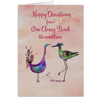 Glückliches Weihnachten von einem noblen Vogel zu Karte