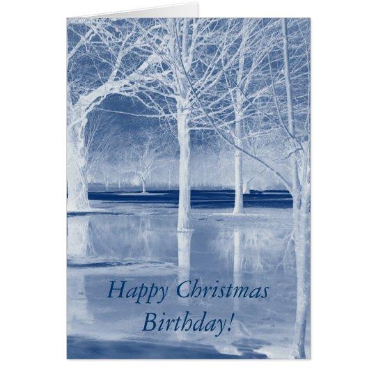 Glückliches Weihnachtsgeburtstag auf Eis Grußkarte