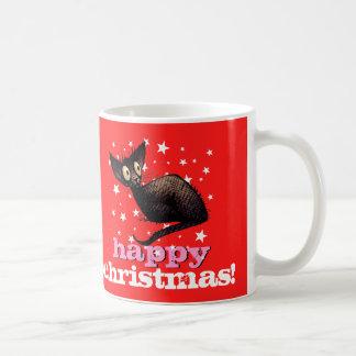Glückliches Weihnachtsorientalische schwarze Kaffeetasse