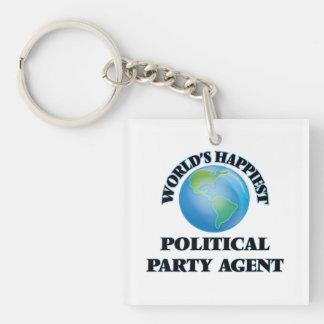 Glücklichster politischer das Party-Agent der Welt Einseitiger Quadratischer Acryl Schlüsselanhänger