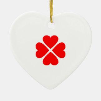 glücksbringer kleeblatt herz herzchen rot red love keramik Herz-Ornament