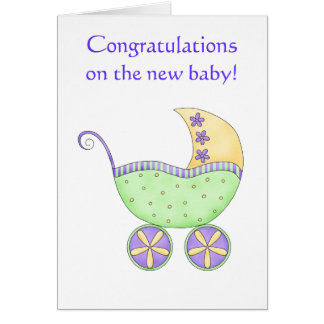 Glückwunsch-Baby-Buggy-Wagen-Grün-Gelb Grußkarte