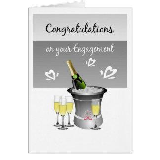 Glückwunsch-Champagne-Karte für verlobte Paare Grußkarte