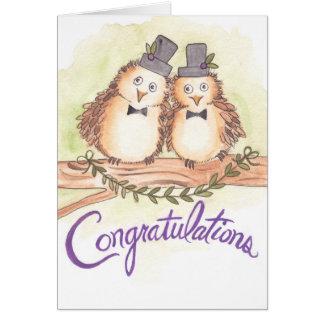 Glückwunsch-Eulen für homosexuelle Hochzeit Karte