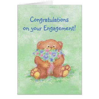 Glückwunsch-Verlobungs-Spaßteddy-Bärn-Blumen Karte