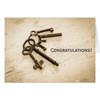 Glückwunsch-Vintage Schlüssel auf Ring-Gruß-Karte Karte