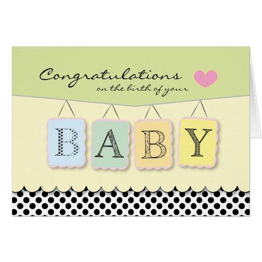 Glückwünsche auf die Geburts-Gruß-Karte des Babys Karte