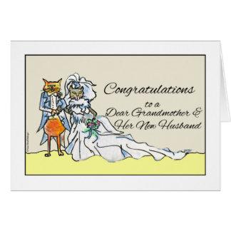 Glückwünsche auf Hochzeit für Großmutter, Katzen Karte