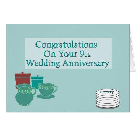 Glückwünsche auf Ihrem 9. Hochzeitstag Grußkarte