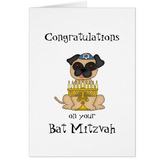Glückwünsche auf Ihrem Schläger Mitzvah-Mops Hund Grußkarte