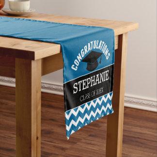 Glückwünsche graduieren - blaues Schwarz-Abschluss Kurzer Tischläufer