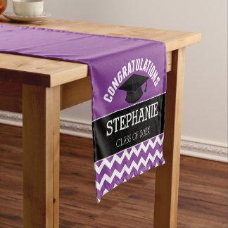 Glückwünsche graduieren - lila schwarzen Abschluss Kurzer Tischläufer