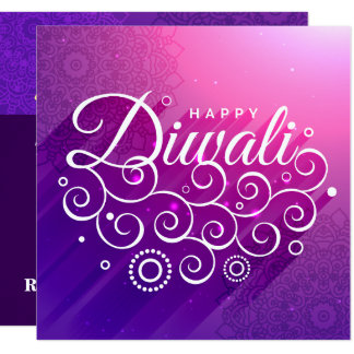 Glühen lila, Rangoli glückliches Diwali blühend Karte