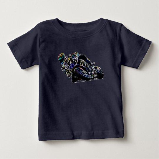 Glühende Motorrad-Reiter-Kreis-laufende Skizze Baby T-shirt