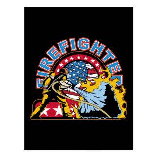 Glühender Feuerwehrmann Postkarte