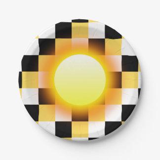 Glühender Sun auf Schwarz-weißen Senf-Quadraten Pappteller 17,8 Cm