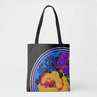 Glühender tropischer Hibiskus auf Schwarzem Tasche