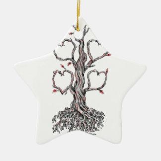 Gnarly Eichen-Herz-Tätowierung Keramik Ornament