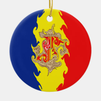 Gnarly Flagge Andorras Rundes Keramik Ornament