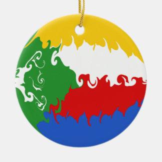 Gnarly Flagge Comoren Rundes Keramik Ornament