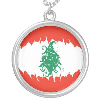Gnarly Flagge des Libanons Halskette Mit Rundem Anhänger