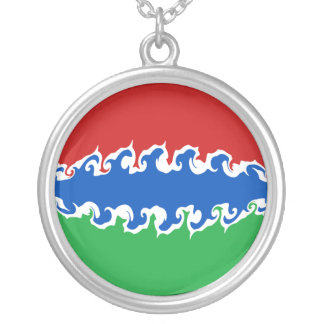Gnarly Flagge Gambias Halskette Mit Rundem Anhänger