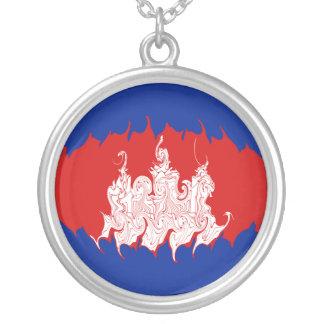 Gnarly Flagge Kambodschas Halskette Mit Rundem Anhänger