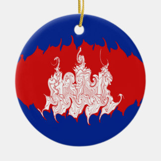 Gnarly Flagge Kambodschas Rundes Keramik Ornament