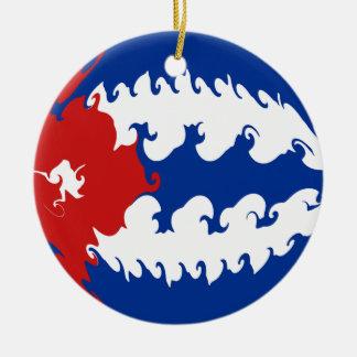 Gnarly Flagge Kubas Rundes Keramik Ornament