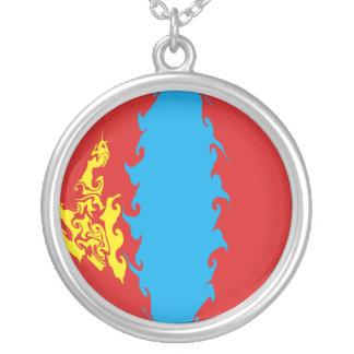 Gnarly Flagge Mongolei Halskette Mit Rundem Anhänger