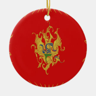 Gnarly Flagge Montenegros Rundes Keramik Ornament