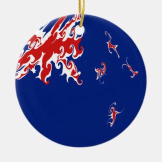 Gnarly Flagge Neuseelands Rundes Keramik Ornament