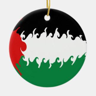 Gnarly Flagge Palästinas Rundes Keramik Ornament