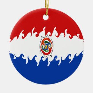 Gnarly Flagge Paraguays Rundes Keramik Ornament