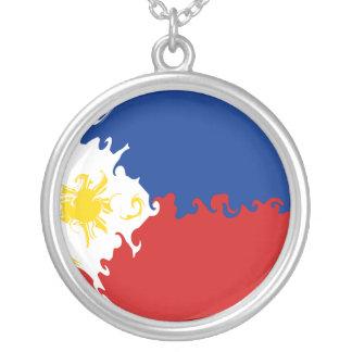 Gnarly Flagge Philippinen Halskette Mit Rundem Anhänger
