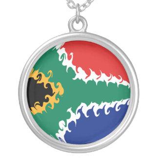 Gnarly Flagge Südafrikas Halskette Mit Rundem Anhänger