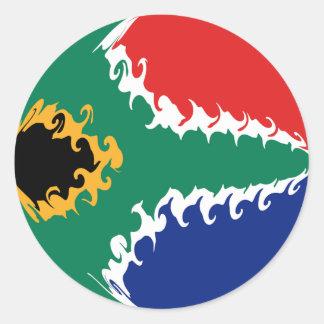 Gnarly Flagge Südafrikas Runder Aufkleber