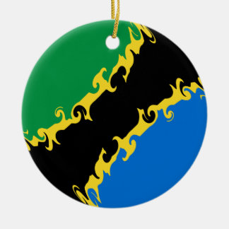 Gnarly Flagge Tansanias Rundes Keramik Ornament